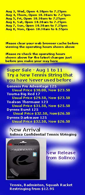Racket Restring Opening Hours & Contact number